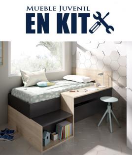 Dormitorio Juvenil con cama compacta, contenedores de almacenaje y escritorio Ref YK02