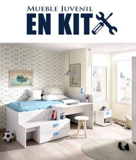 Dormitorio Juvenil con cama compacta con cajones y escritorio Ref YK03