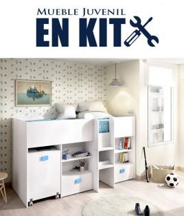 Dormitorio Juvenil con cama tren con escritorio Ref YK04
