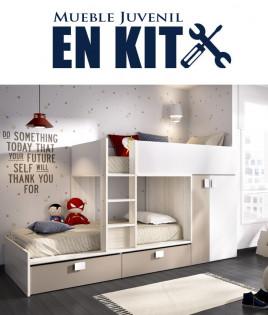 Dormitorio Juvenil litera tren con contenedores y armario Ref YK12
