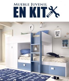 Dormitorio Juvenil litera tren con contenedores y armario Ref YK13