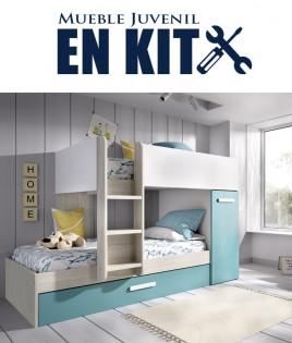 Dormitorio Juvenil Trilitera tren con armario Ref YK17