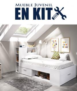 Dormitorio Juvenil con cama compacta con huecos de almacenaje Ref YK21