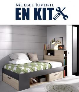 Dormitorio Juvenil con cama compacta con huecos de almacenaje Ref YK22