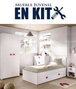 Dormitorio Juvenil con cama compacta, armario, cómoda y mesita Ref YK25