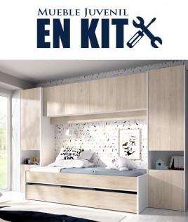 Dormitorio puente Juvenil con cama nido y armarios Ref YK27