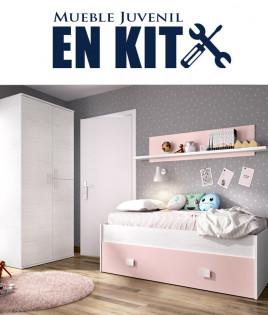 Dormitorio Juvenil cama con contenedor, armario 2 puertas y estante Ref YK31