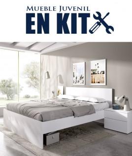 Dormitorio Matrimonial formado por cama y 2 mesitas Ref YK33