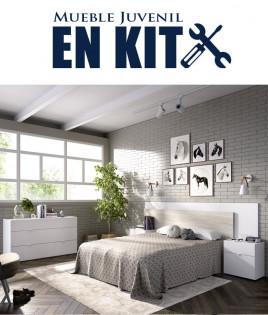 Dormitorio Matrimonial formado Cabecero, 2 mesitas y cómoda Ref YK37