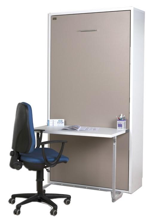 Pack cama abatible vertical con escritorio y colch n viscoel stico - Escritorio abatible pared ...